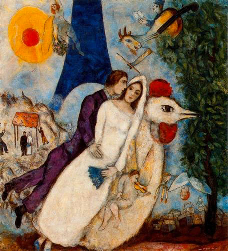 Marc Chagall, The Betrothed and Eiffel Tower (1914)
